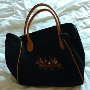 Ralph Lauren black canvas purse polo embroidery